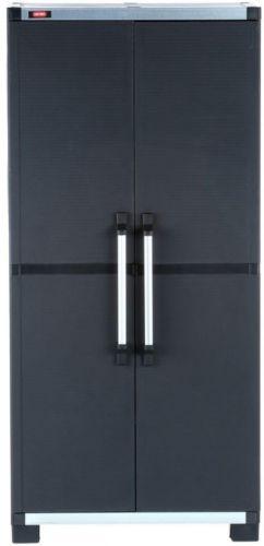 Freestanding Plastic Garage Storage Room Utility Cabinet 17.7dx74hx34.65w Black