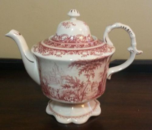 Burton Red Toile Asian Style Teapot