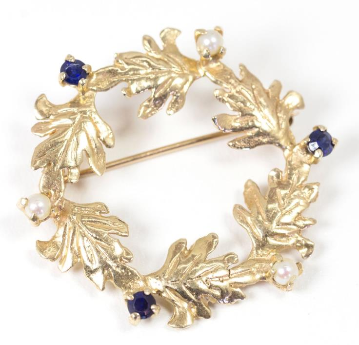 Blue Sapphire and Seed Pearl Leaf Garland Wreath Brooch Pin in 14k Yellow Gold