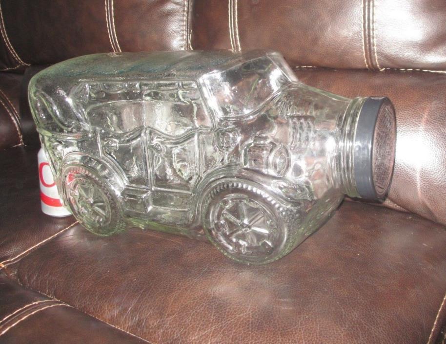 Large Vintage Glass AUTOMOBILE Touring CAR Bottle JAR Canister with LID