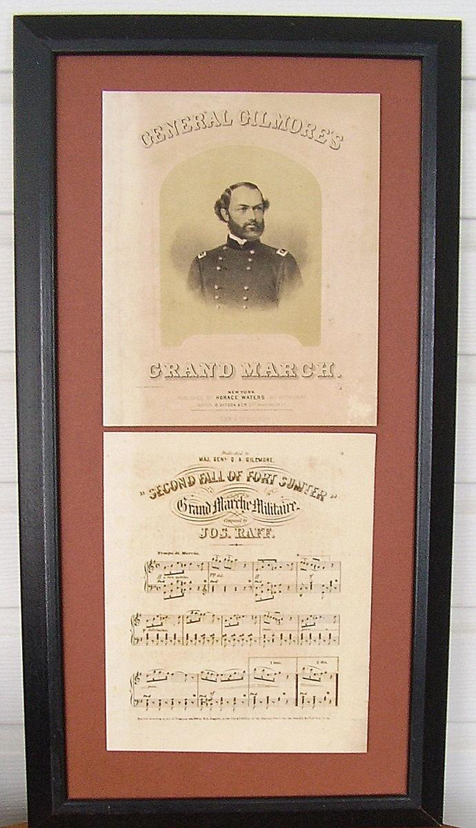 Framed Orig.Sheet Music:  CIVIL WAR - 'GEN GILMORE'S MARCH' - Published 1863
