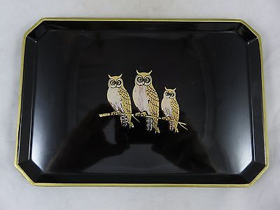 Vtg OMC Otagiri - Owl - Sushi Serving Tray - Black Lacquer / Gold - Japan