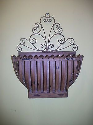 Decorative Brown Distressed Scroll Metal Wall Planter