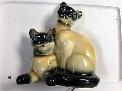 Vintage Siamese Cat TV, Television Lamp Night Light, California Pottery, 1950's