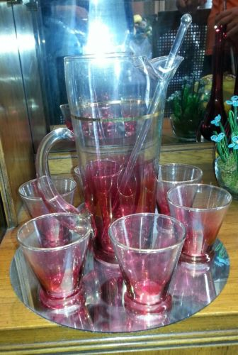 Cranberry pitcher and glasses