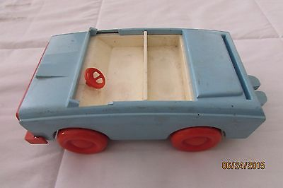 Hasbro Vintage 1972 Weebles Toy Camper Car Romper Room Blue With Red Wheels