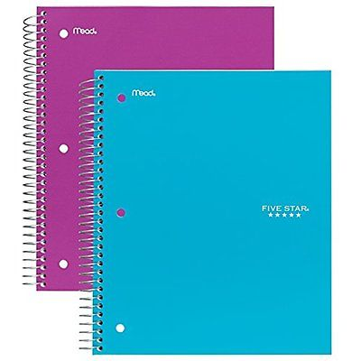 Five Wirebound Notebooks Star Spiral Notebook, 3 Subject, 150 Wide Ruled Sheets,