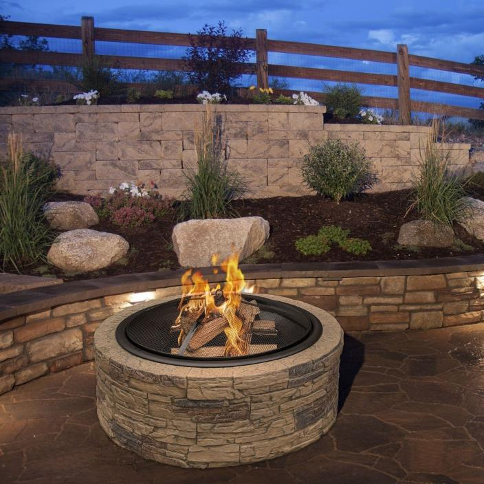 Sun Joe 35 Inch Cast Stone Fire Pit Large 29Inch Fire Bowl Outdoor Fire Pit New