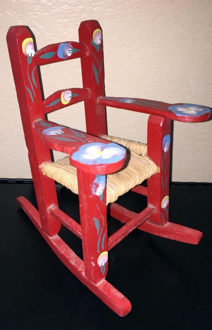 VTG 1970s Folk Art Red Painted Wooden Doll Rocking Chair~MEXICO~American Girl!
