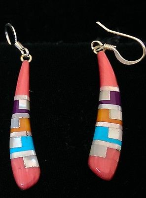 Zuni Sterling Silver & Pink Coral & Spiny Oyster & Turquoise Earrings