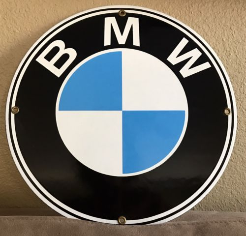 BMW AUTO CAR METAL PORCELAIN ROUND GARAGE SIGN MAN CAVE ADVERTISING 11.75