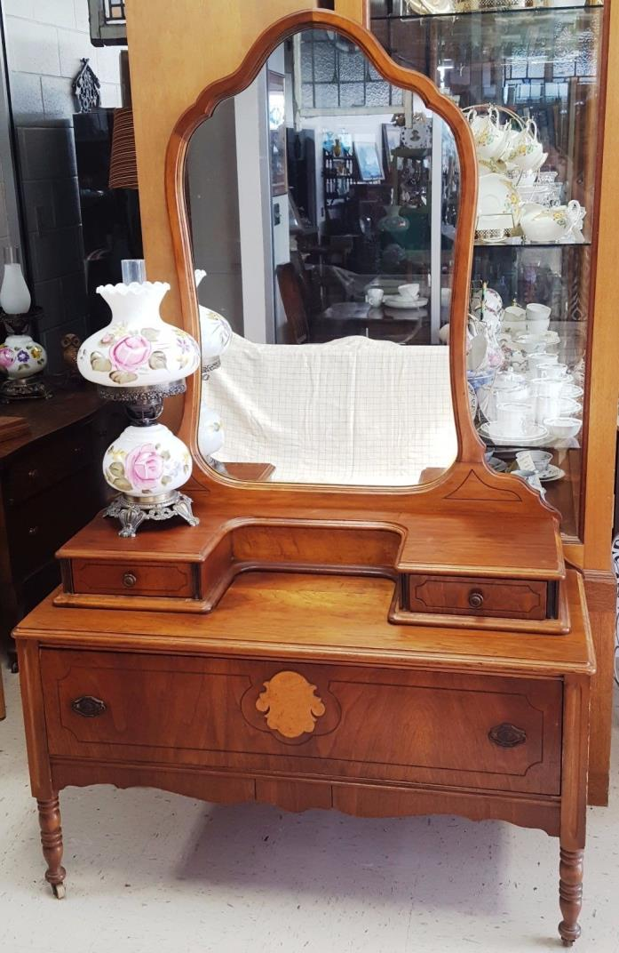 1930's - 1940's Walnut Dresser Single Drawer w/ 2 glove boxes and Mirror