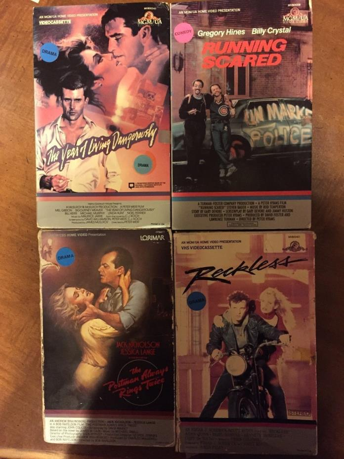 MGM BOOK BOX VHS LOT rare big Reckless Running Scared Year of Living Dangerously