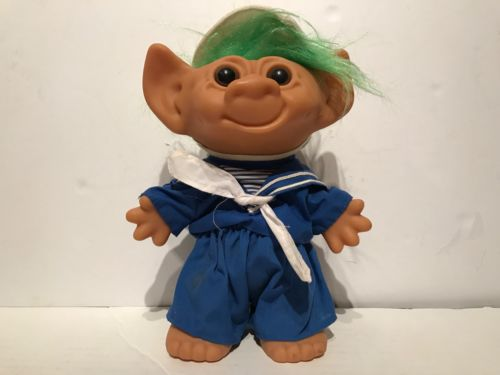 Vintage Troll Green Hair Sailor Doll