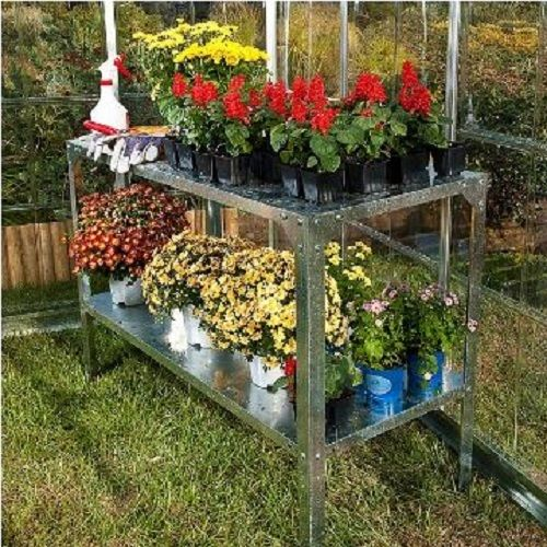 Potting Planter Table Bench Galvanized Steel Greenhouse Garden Plants Outdoor