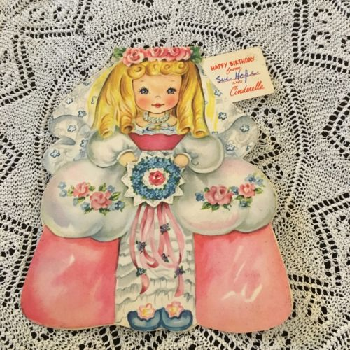 Vintage Greeting Card Birthday Cinderella Doll Bouquet