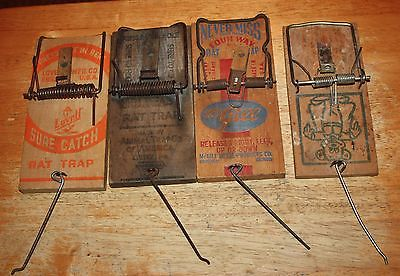 Lot of 4 vintage Wooden Rat Traps Lovell Animal Trap Co. McGill