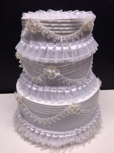 3 Tier Pearl Satin Ribbon Handmade Wedding Cake Gift Card Holder Box