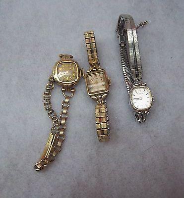 Vintage Watches, Ladies, 2 Bulova, 1 Elgin