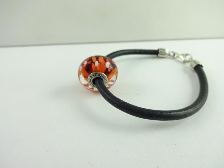 Sterling Silver Nice Pandora Charm Leather  Bracelet 7