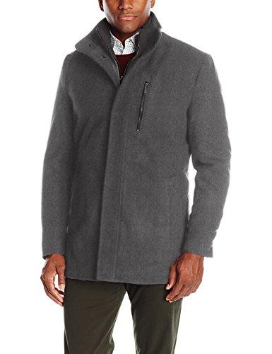 London Fog Men's Wool Car Coat with Bib