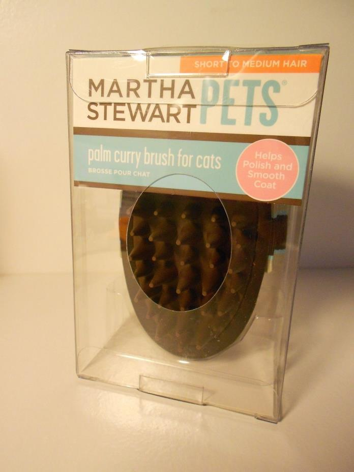 Martha Stewart pets palm curry brush for cats & small dogs-short to med. hair