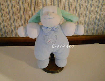 Vintage baby puppy dog pastel green white with thermal pajamas plush rattle  D 3