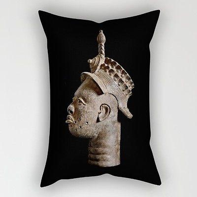 THROW PILLOW OBLONG-RECTANGULAR 14x20 ~ Exclusive African Design Ife Bronze Head