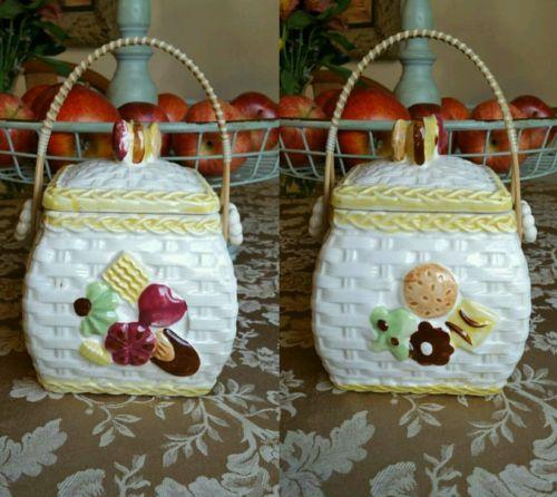 Vintage Enesco cookie basket ceramic