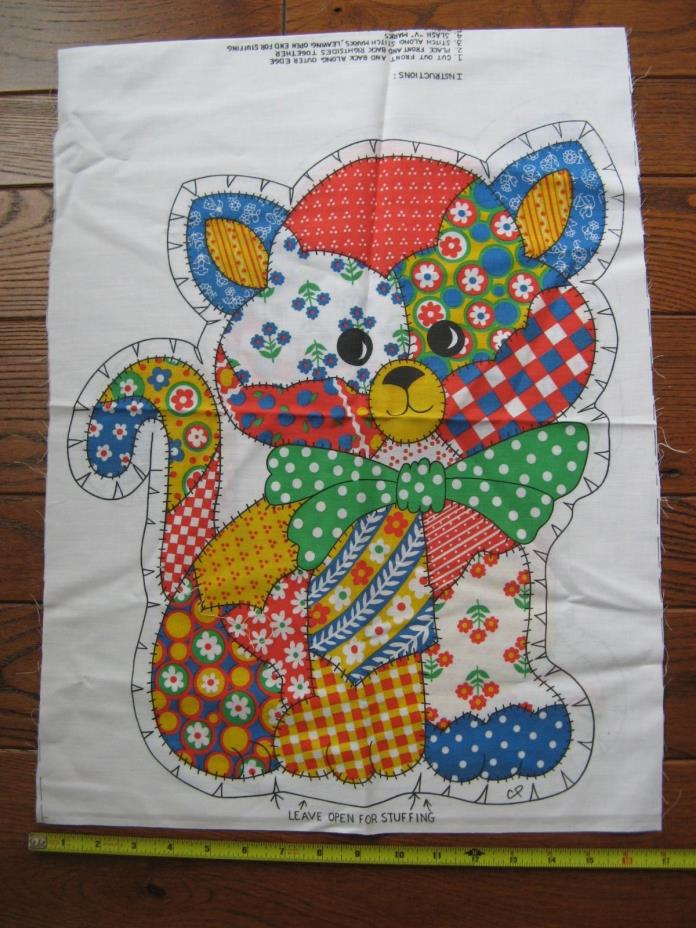 Vintage Cotton Fabric Pillow Panel Calico Kitten Pillow 15 x 17 Sewing Project