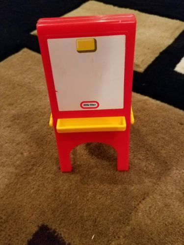 Little Tikes Red Art Easel Chalkboard Dollhouse Furniture Vintage House
