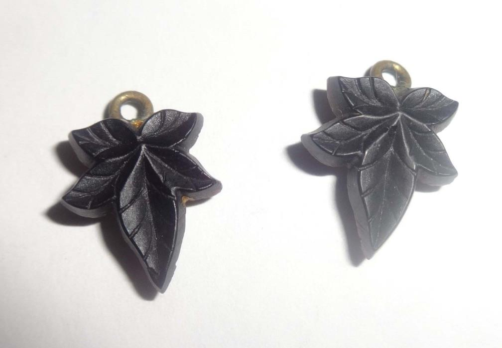 ANTIQUE VICTORIAN JET ONYX LEAF MOURNING EARRINGS need wires