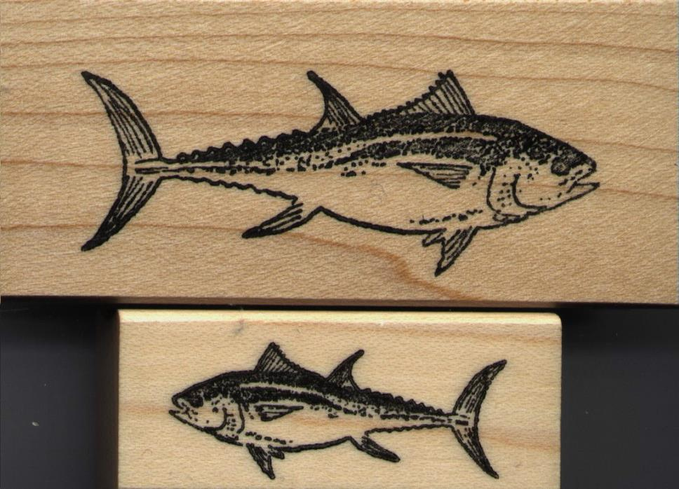 NEW mounted Sea Creatures rubber stamps  Bluefin Tuna set of 2 stamps