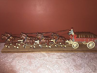 Vintage Budweiser Cast Iron Clydesdale Horse Beer Wagon Toy