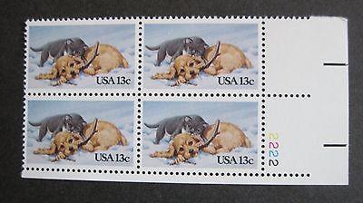 13c Christmas Kitten & Puppy Plate Block #2025 MNH