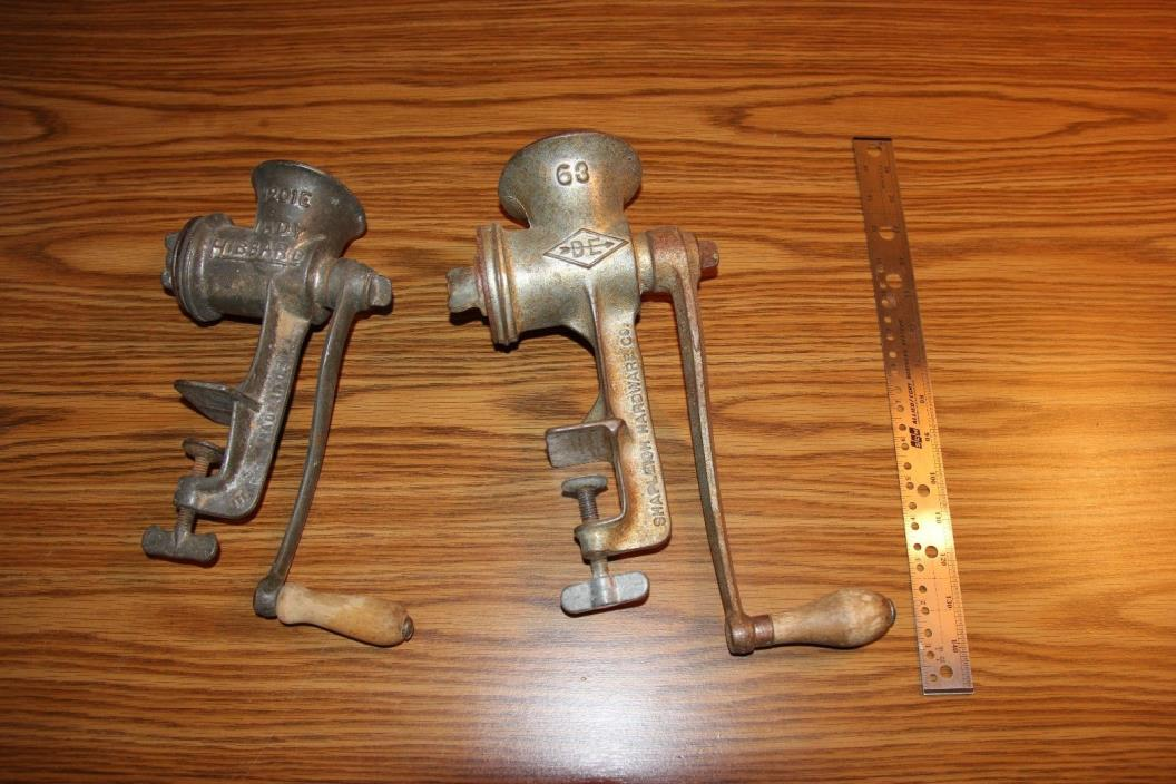 2 ANTIQUE VINTAGE MEAT GRINDER