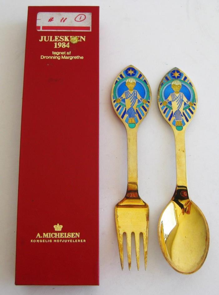 Vtg 1984 Michelson Gold Sterling Silver Enamel Danish Christmas Spoon Fork & Box