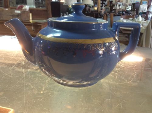 HALL 06 6 CUP BLUE GOLD TEAPOT