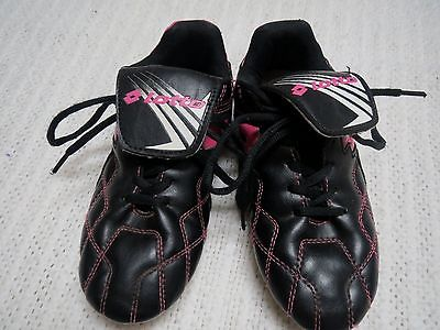 Girls 2 SOCCER CLEATS Lotto black w bright pink