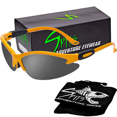 Spits Cougar Safety Glasses - Yellow Frame - Grey Flash Mirror Lenses