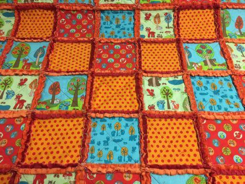 Woodland Animals Baby Rag Quilt Blanket Red & Orange Baby Shower Gift