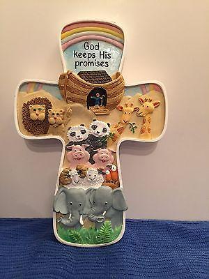Noah's Ark 3D Animal Cross Baby Nursery Wall Decor ABBEY PRESS