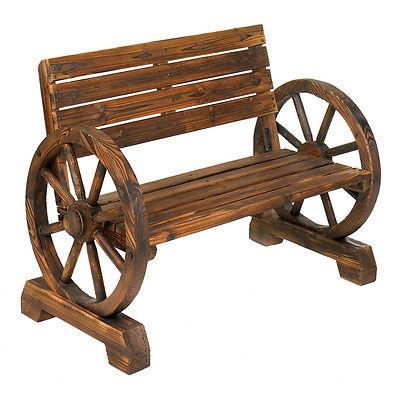 Outdoor Rustic Wagon Wheel Bench