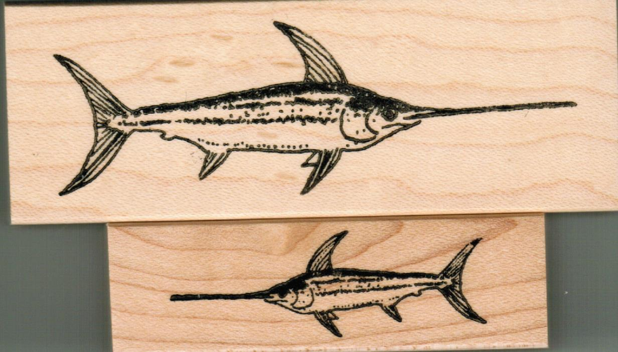 NEW mounted Sea Creatures rubber stamps Swordfish set of 2 stamps