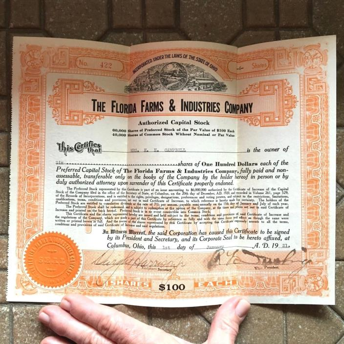 Vintage 1921 6 Shares Stock Certificate The Florida Farms & Industries Company