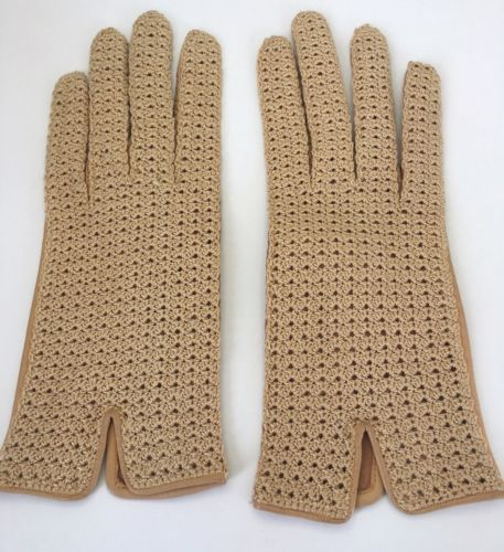NEW ARIS WOMEN'S CROCHET BROWN SOFT LEATHER DRIVING GOWN GLOVES VINTAGE SZ 6