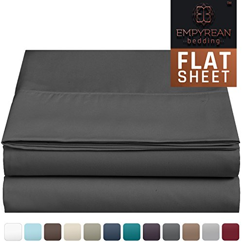 Premium Flat Sheet - Luxurious & Soft Queen Size Linen Flat Charcoal Gray Sheets