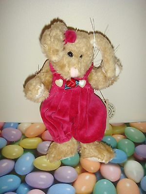 Boyds Bears Plush Bunny Rabbit Wearing Bright Pink Jumper