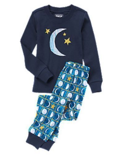4 T Gymboree Eric Carle Blue MOON STARS Gymmies PJ's Pajamas Toddler Boy New NWT