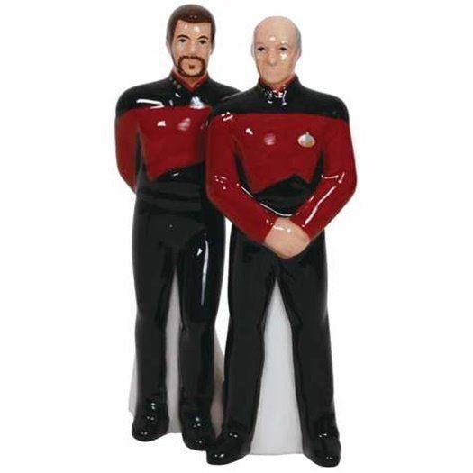 Star Trek: The Next Generation Picard & Riker Salt & Pepper Shakers Set 2015 MIB